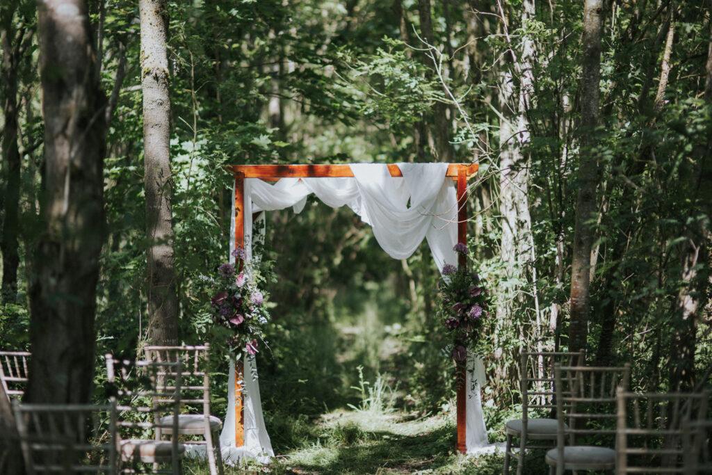 Woodland wedding ceremony - stratton court barn